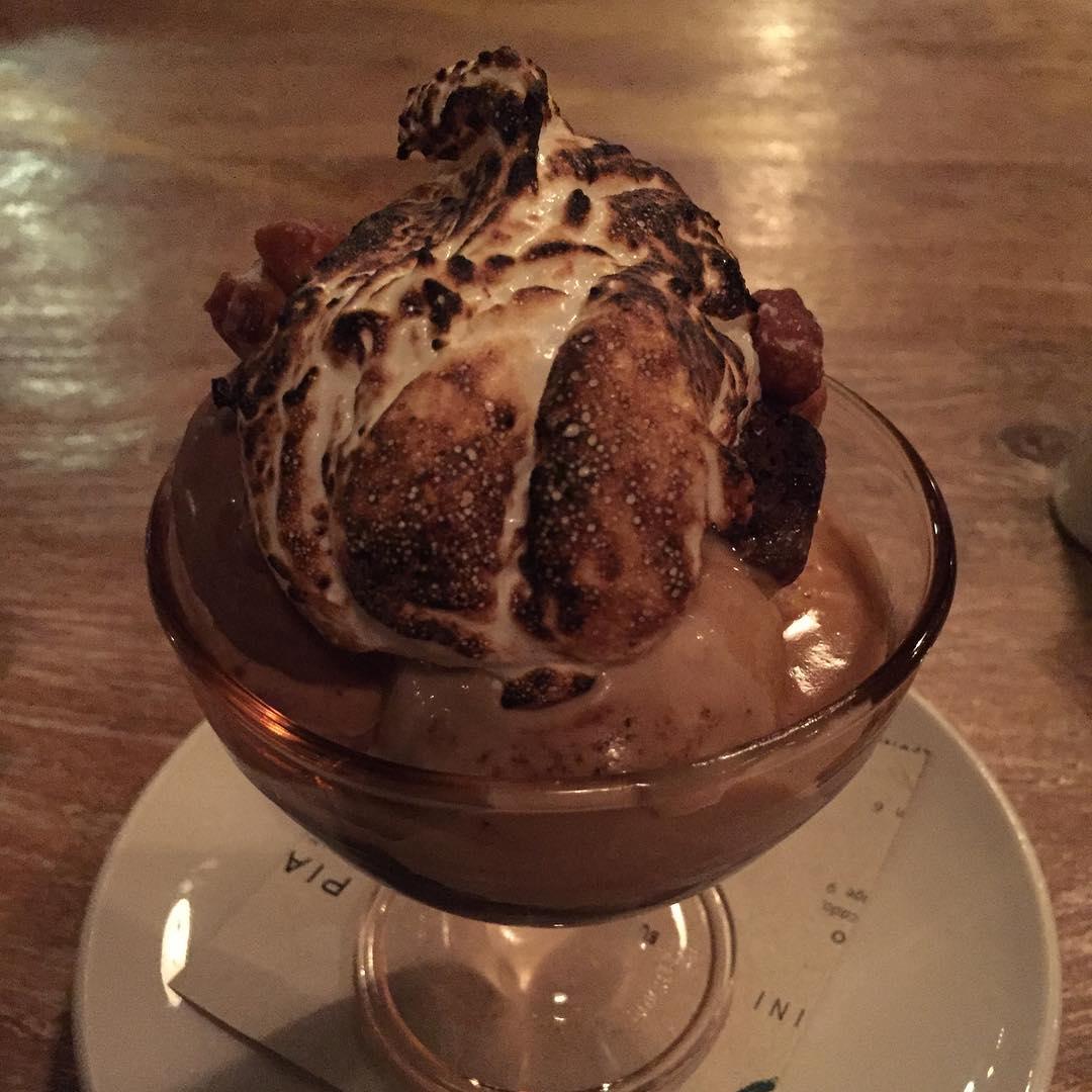 Suzanne Ko: Really loved my dessert at @monteverdechi: Affogato Brownie Sundae | espresso, marshmallow fluff, candies hazelnuts, scoops of hazelnut/chocolate stracciatella/vanilla bean ice cream